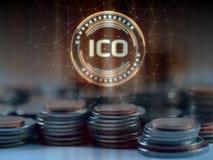 Det initiala myntet som erbjuder ICO, ledde hologramsvävande över högen av vanliga mynt fotografering för bildbyråer