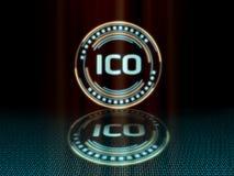 Det initiala myntet som erbjuder ICO med ledde glödande blått, färgar ge en känsla av science fictionvetenskap stock illustrationer