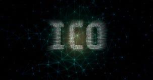 Det initiala myntet som erbjuder ICO-text som var skriftlig i binärt format på abstrakt begrepp, band nätverksbakgrund stock illustrationer