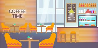Det inre moderna kafét tömmer med inga personer inom arkivbild