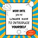 Det inspirerande och motivational citationstecknet dras i en komisk stil Arkivbild