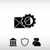 Det inställningsparametrar och kuvertet postar symbolen, vektorillustration Royaltyfri Foto
