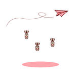 Det isolerad rosa pappers- flygplanet och förälskelse för tecknad film bombarderar Royaltyfri Fotografi
