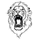 Det isolerade lionhuvudet som ett symbol, undertecknar, emblem Royaltyfria Bilder