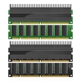 Det isolerade papperssnittet av RAM med kylflänsen är minnesteknologi in Royaltyfri Foto