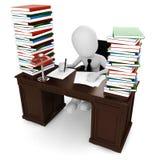 det isolerade skrivbordet för bakgrund 3d framför white Arkivbild