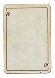 Det isolerade tomma gammala leka kortet som är pappers- med, numrerar tio Arkivbilder
