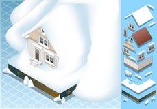 Det isometriska huset slogg vid jordskredet av Snow royaltyfri illustrationer