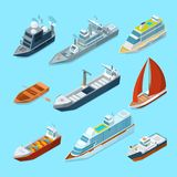 Det isometriska passagerarehavet sänder och olika fartyg i port Marin- illustrationer vektor illustrationer