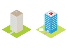 Det isometriska sjukhuset med en heliport och reklamfilmbyggnader sänker 3d Arkivbild