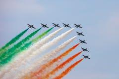 Det italienska demonstrationslaget Frecce Tricolori Arkivbild