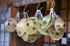 Det Japan loppet Shirakawa går den traditionella japanska hattmarschen 2018 royaltyfri fotografi