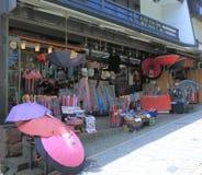 Det japanska paraplyet shoppar i Kanazawa Royaltyfri Bild