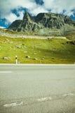 Det Julier Mountian passerandet i schweiziska Alps near St. Moritz Arkivfoto