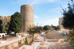 Det jungfru- tornet, Baku, Azerbajdzjan Royaltyfria Bilder
