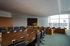 Det kabineda rummet inom kanslibyggnaden i Berlin-Mitte arkivbilder