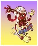 Det kalla exponeringsglaset av cocaen, går till dig på en skateboard drink Royaltyfri Fotografi