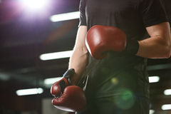 Det kantjusterade fotoet av unga starka sportar man boxaren Arkivbilder