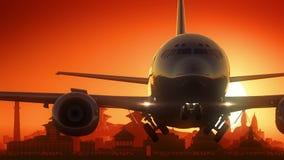 Det Katmandu flygplanet tar av horisont guld- bakgrund stock video