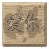 Det kinesiska alfabetet på trä är medlet som jag älskar dig Royaltyfria Bilder
