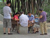 Det kinesiska folket spelar kort parkerar in av Chengdu Arkivbild