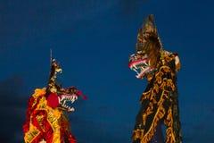 Det kinesiska nya året för lejondans arkivbild