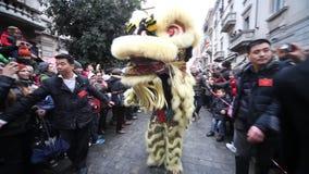 Det kinesiska nya året ståtar i Milan 2014 Royaltyfri Fotografi