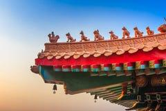 Det kinesiska tempeltaket Arkivfoto
