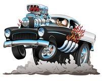 Det klassiska amerikanska femtiotalet utformar varma Rod Funny Car Cartoon med den stora motorn, flammor och att röka gummihjul s vektor illustrationer