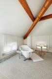 Det klassiska badrummet med vit badar Arkivbild
