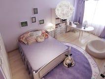 Det klassiska sovrummet delade in i zoner Royaltyfria Bilder