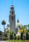 Det Klocka tornet på balboaen parkerar i San Diego California Arkivfoto