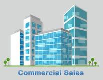 Det kommersiella försäljningscentret beskriver den Real Estate 3d illustrationen Royaltyfri Illustrationer