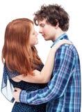 Det konstiga ögonblicket för den första kyssen Royaltyfri Bild