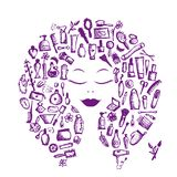 Det kosmetiska begreppet, kvinnlig tillbehör på kvinna head vektor illustrationer