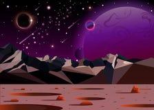 Det kosmiska landskapet av en annan planet i öppet utrymme Tom fantastisk planet stock illustrationer