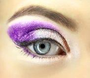 Det kvinnliga ögat med infall blänker makeupcloseupen arkivfoto