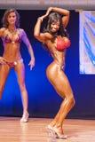 Det kvinnliga diagramet modell visar henne som är bästa på mästerskapet på etapp Arkivbild