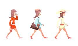 Det kvinnliga teckenet för kvinnan för tappning för GeekHipsterflickan går design för tecknad film för symboler för mobiltelefonp Fotografering för Bildbyråer