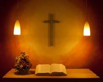 Det kyrkliga altaret Arkivbild