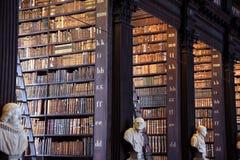 Det långa rummet i det gamla arkivet på Treenighethögskolan Dublin Arkivbild
