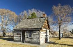 Det lantliga gamla västra Wood arvet för banbrytaren för mormonet för journalkabinen parkerar Panguitch Utah arkivbilder