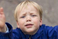 Det ledsna skriande lilla barnet drar upp hans händer Stäng sig upp ståenden av behandla som ett barn pojken som frågar för, välj Arkivbild