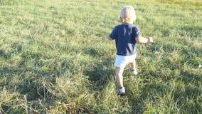 Det lilla barnet går på grönt gräs på fältet på den soliga dagen Behandla som ett barn att gå på den utomhus- gräsmattan att lära royaltyfri bild