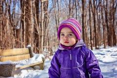 Det lilla barnet i vintern parkerar Ståendecloseup Royaltyfria Foton