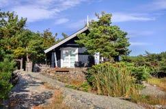 Det lilla berghuset som byggs på, vaggar i Norge Fotografering för Bildbyråer