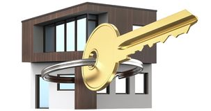 Det lilla huset bredvid det är tangenterna Symbol av att hyra ett hus för hyra och att sälja ett hem som köper ett hem, en inteck Arkivfoton