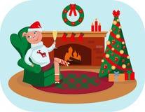Det lilla piggy firar jul hemma vektor illustrationer