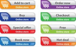 Det on-line lagret/shoppar rengöringsduk har kontakt beståndsdelar Arkivbilder