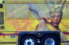 Det Lion King tecknet på bussen Arkivfoto